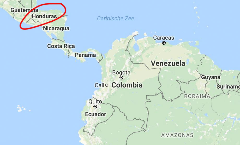 Reistips vakantie Honduras landkaart